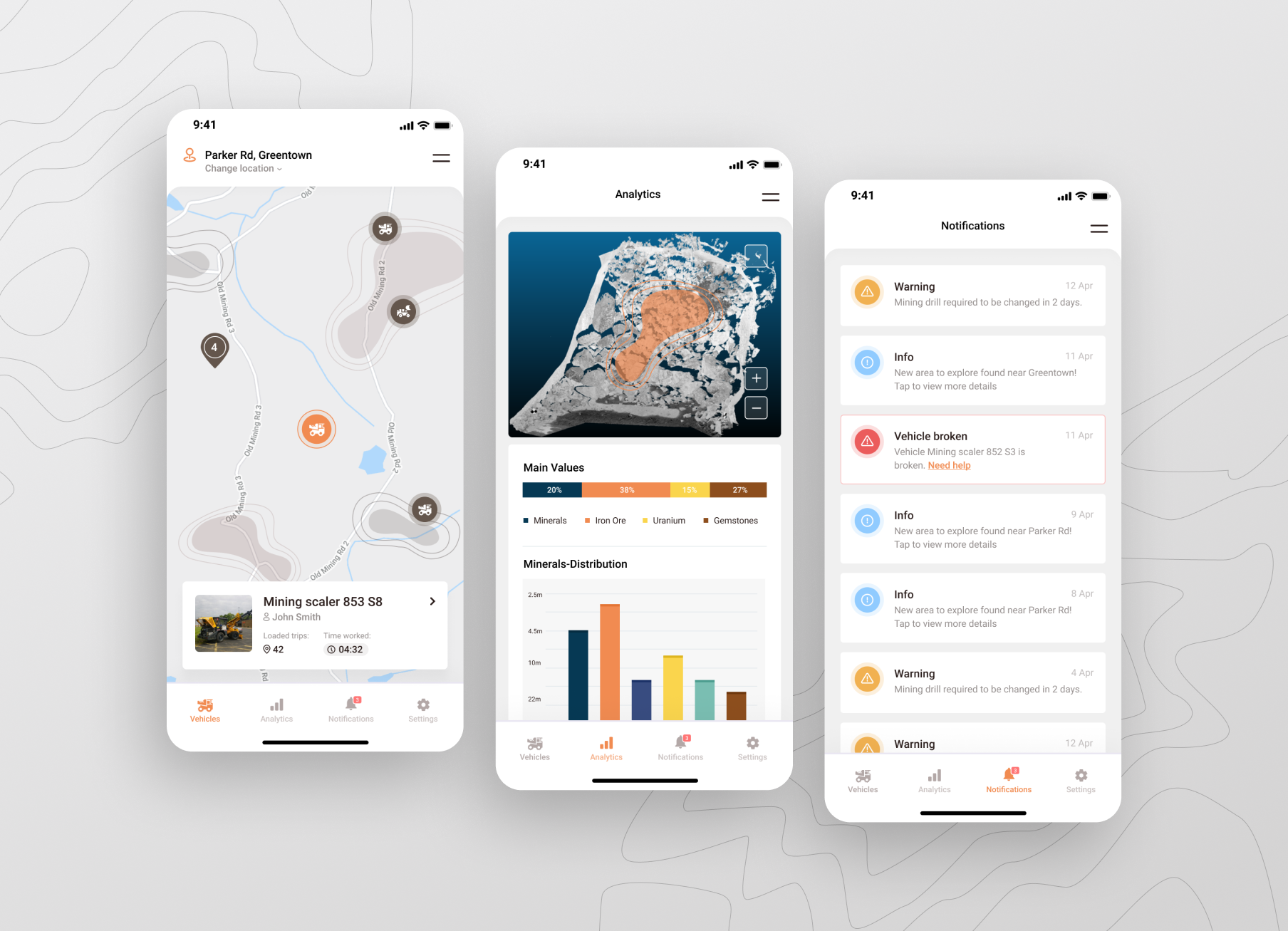 Mining technology mobile application designed by Appello Software showing data analytics and notifications and explore map. uses artificial intelligence.